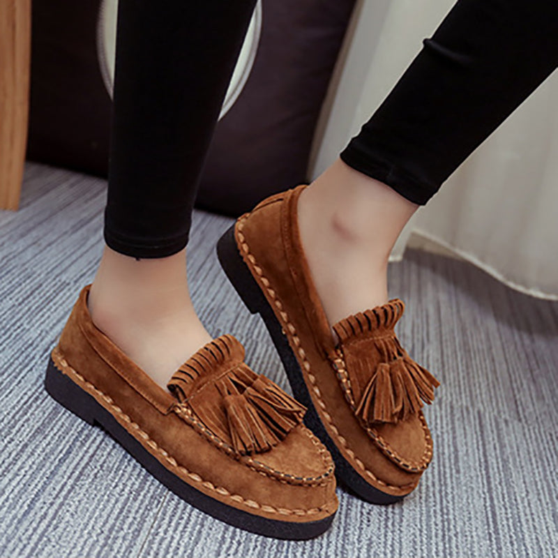 Casual Artificial Suede Low Heel Loafers
