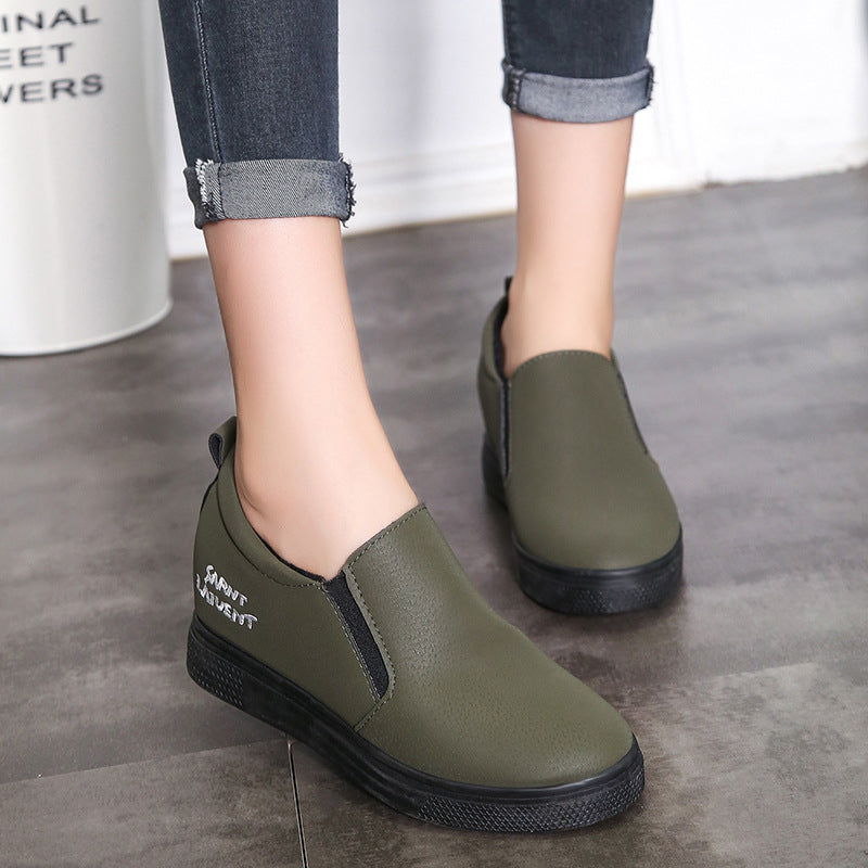 Round Toe Women Slip-On Inner Height Increasing Loafers