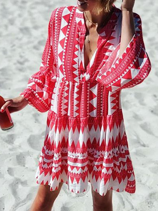 Vintage Summer 3/4 Sleeves Printed Basic Vacation Dresses