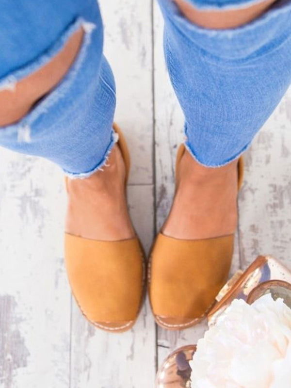 Solid Color Slip on Espadrilles Flip Flop Flats