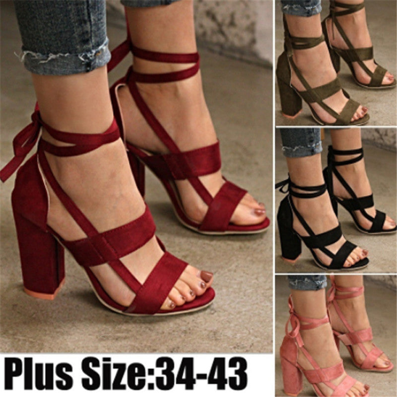 Flocking Lace-up Chunky Heel Daily Sandals