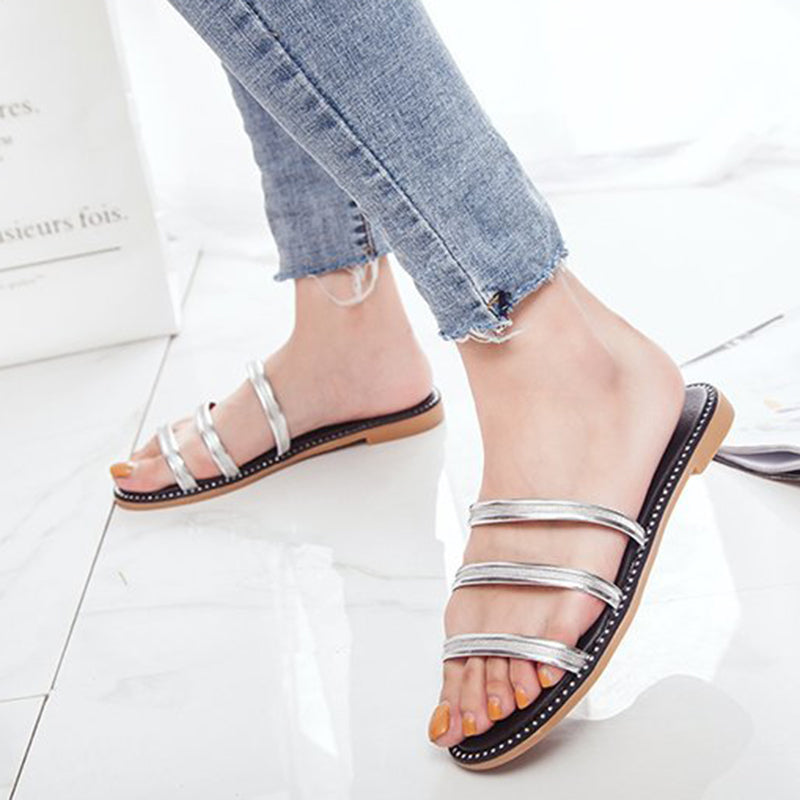 Women Casual Flat Heel Sandals Slip On Shoes