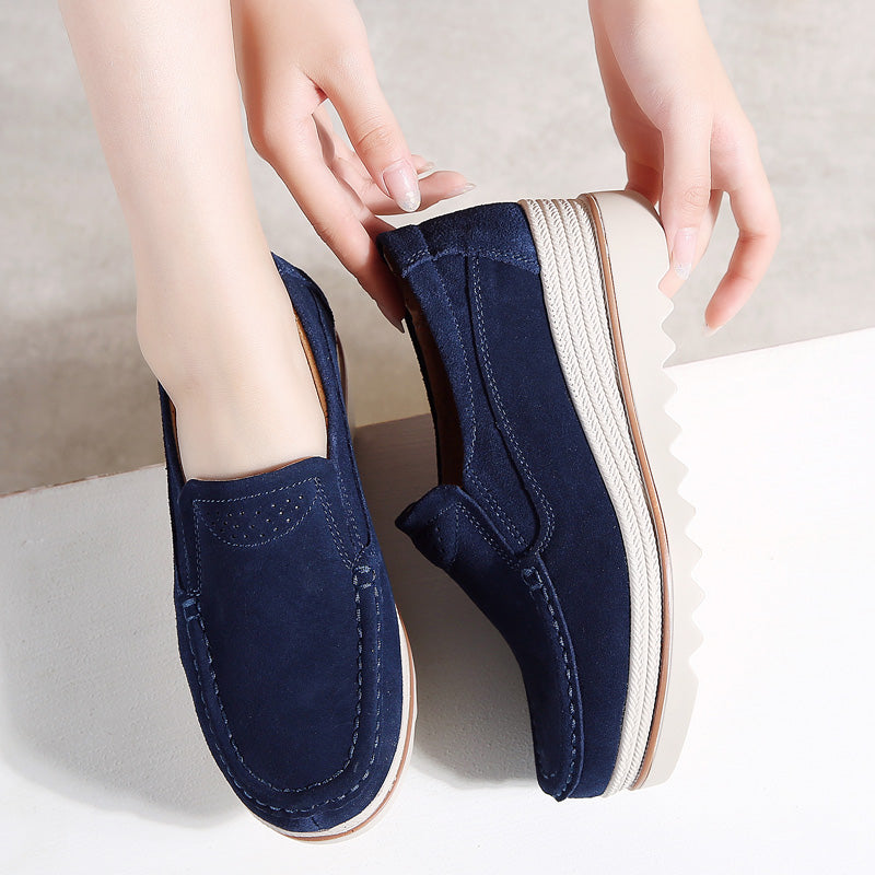31d0c3fe5b7 Womens Breathable Suede Round Toe Slip On Platform Shoes. Size Charts
