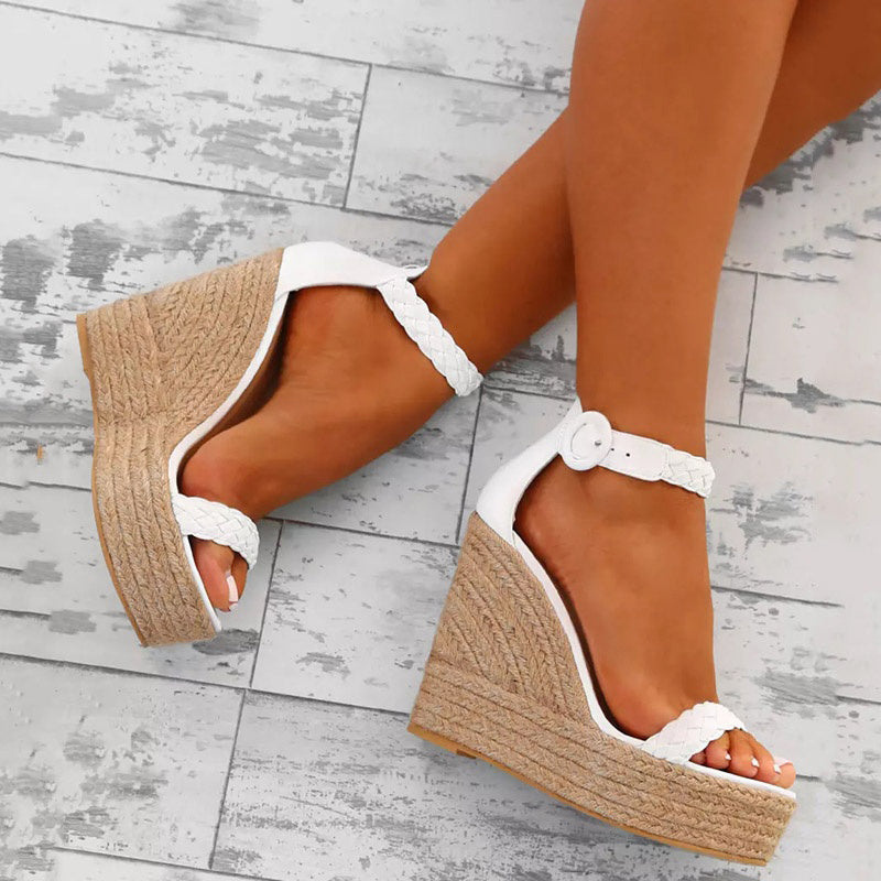 Women PU Wedge Sandals Casual Comfort Adjustable Buckle Shoes