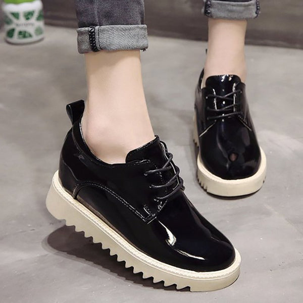 Women Patent Leather Wedge Loafers Casual Comfort Shoes