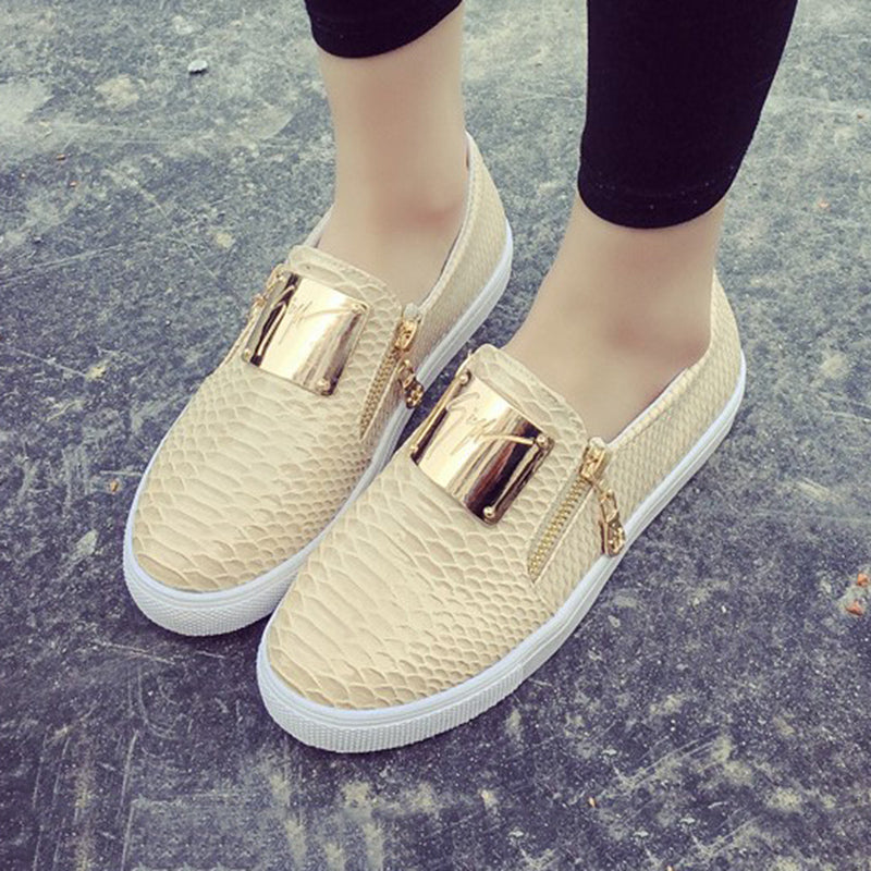 PU Flat Heel Zipper Casual Loafers