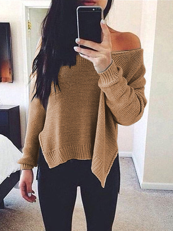 Knitted One Shoulder Long Sleeve Vintage Sweaters