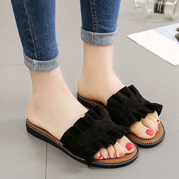 Women Summer Casual Ruffles Hem Slide Flat Slipper Shoes
