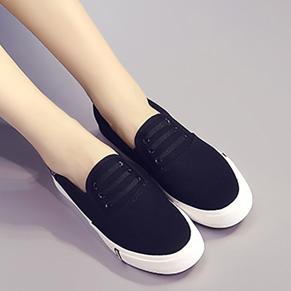 Women Canvas Flat Loafers Casual Comfort Slip On Shoes