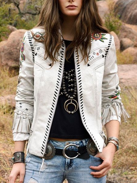 White Faux Leather Vintage Outerwear