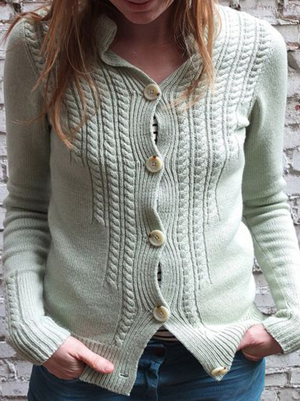 Lightgreen Vintage Buttoned Sweater