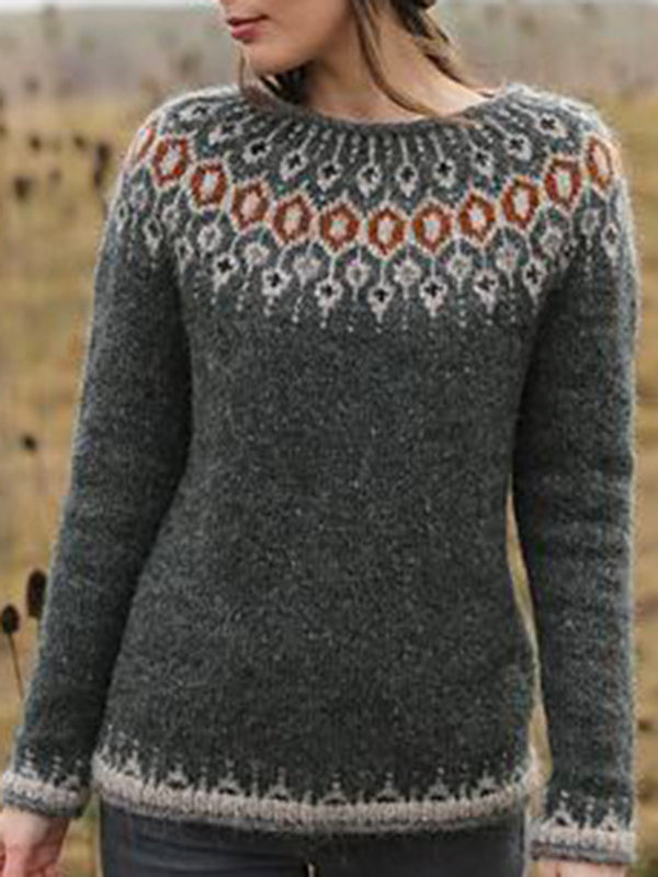 Knitted Geometric Casual Sweater