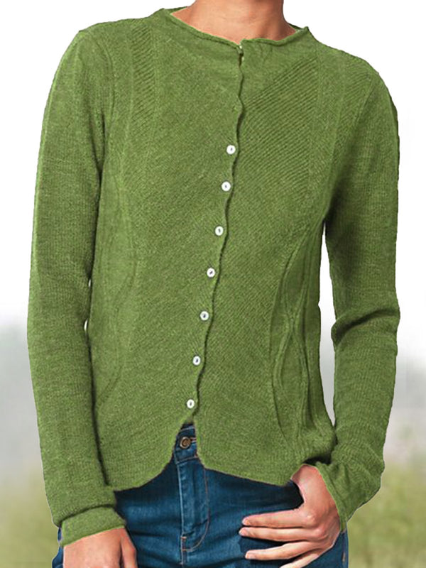 Cotton-Blend Casual Solid Buttoned Sweater