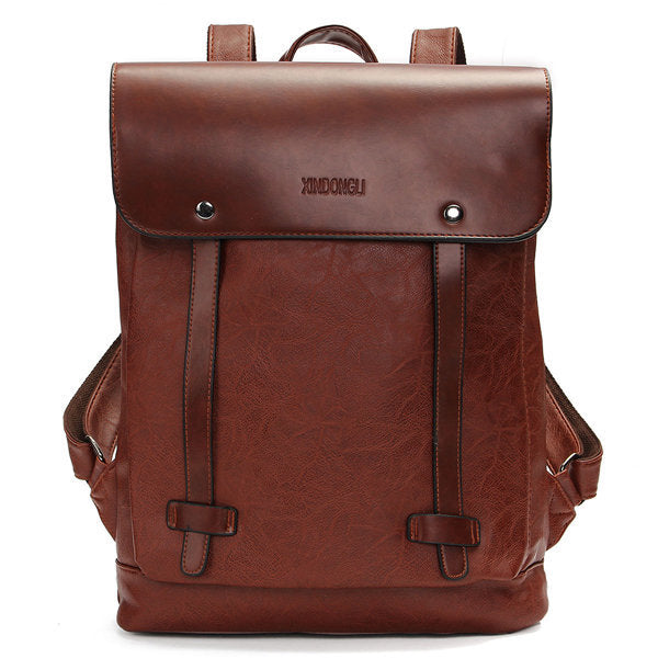 Unisex Vintage  PU Leather Backpack Laptop bags School Bag