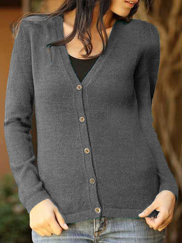 Solid Casual Buttoned Long Sleeve Sweater