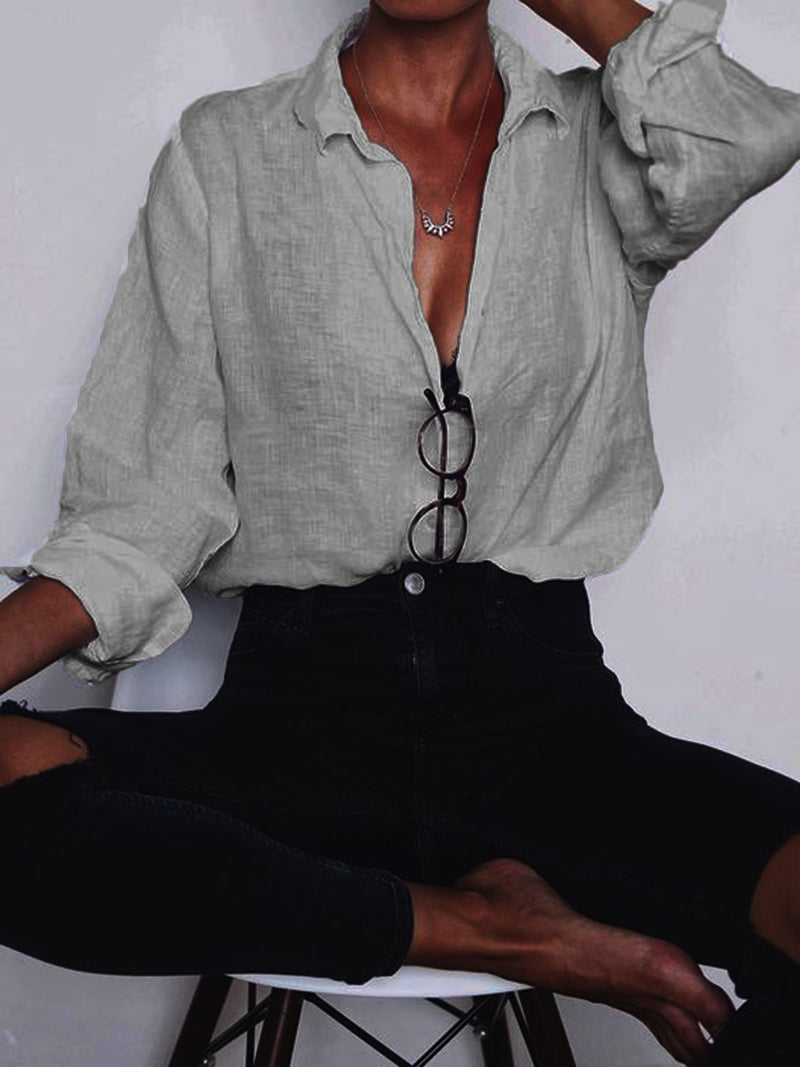 Cotton-Blend Long Sleeve V Neck Plain Shirts & Tops