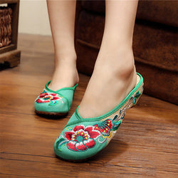 Floral Embroidery Slip-On Women's Loafers