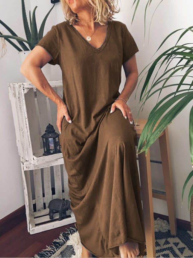 Plus Size Casual Sleeve V Neck Solid Short Sleeve Dresses