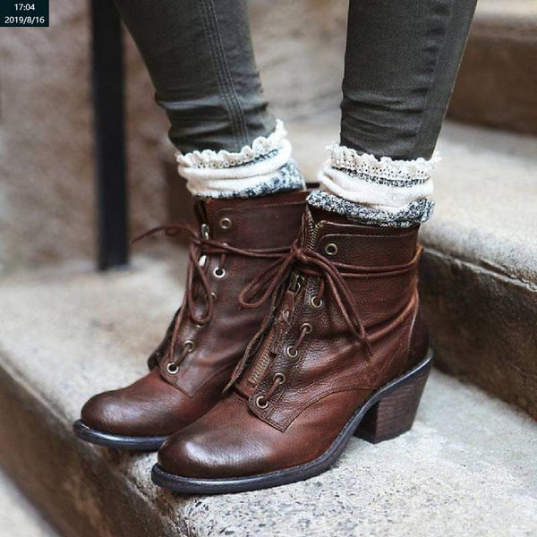 Chunky Heel Vintage Boots