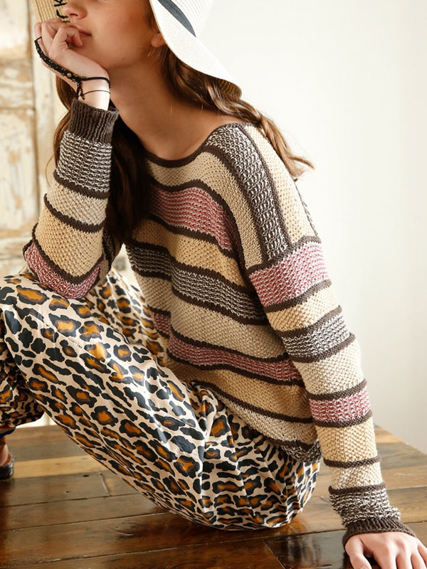 Khaki Acrylic Long Sleeve Sweater