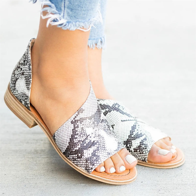 Peep Toe Side-cut Style Stacked Heel Flats