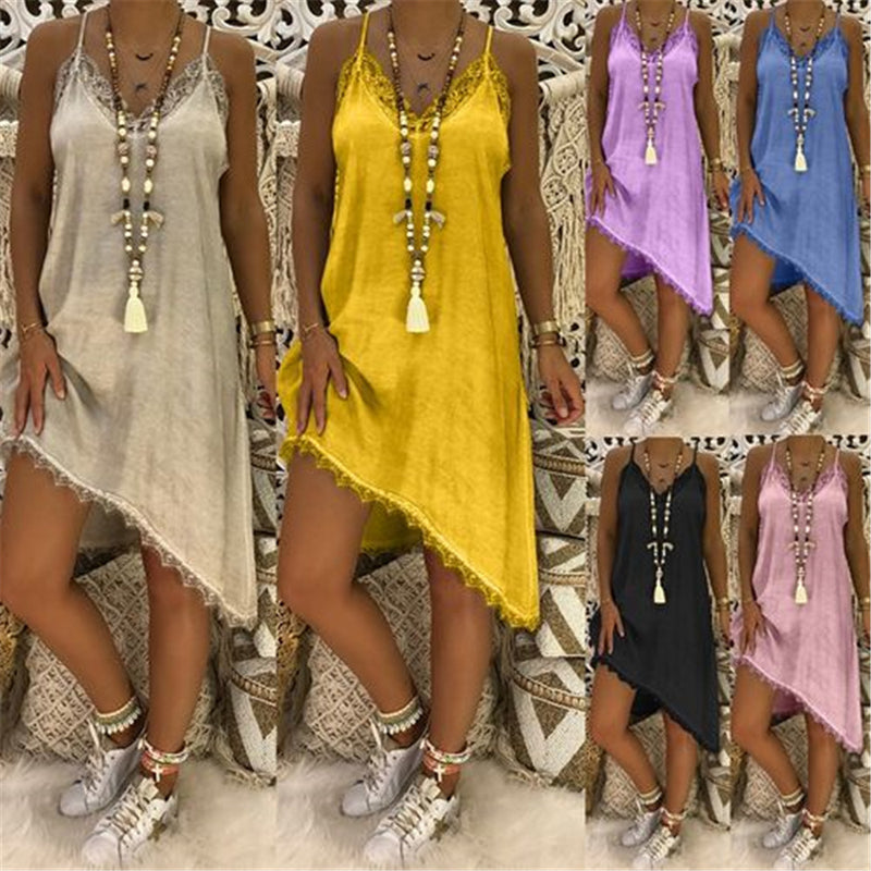 Women Sexy Strapped Asymmetric Solid Guipure Lace Cotton Vacation Dresses