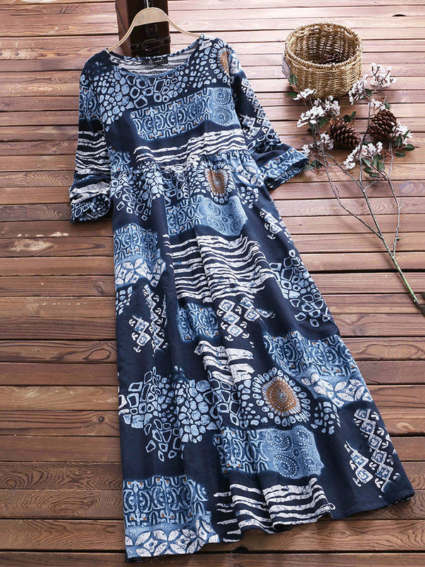 Crew Neck Printed Abstract Maxi Dress