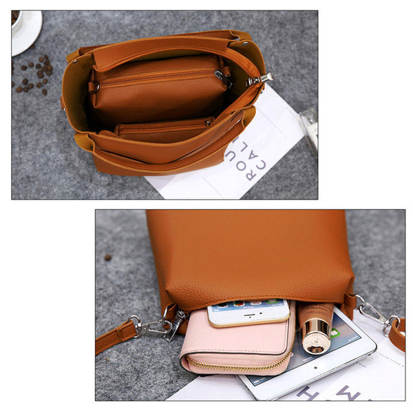 Women 4 PCS Versatile PU Leather Bucket Bag High-end Hobos Bag Handbag