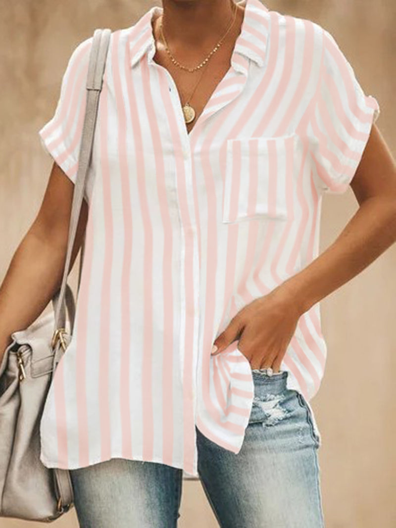 Women Casual Stripe Short Sleeve Shirts
