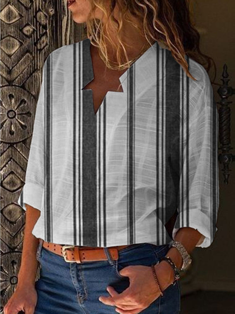Cotton Long Sleeve Paneled Elegant Shirts & Tops