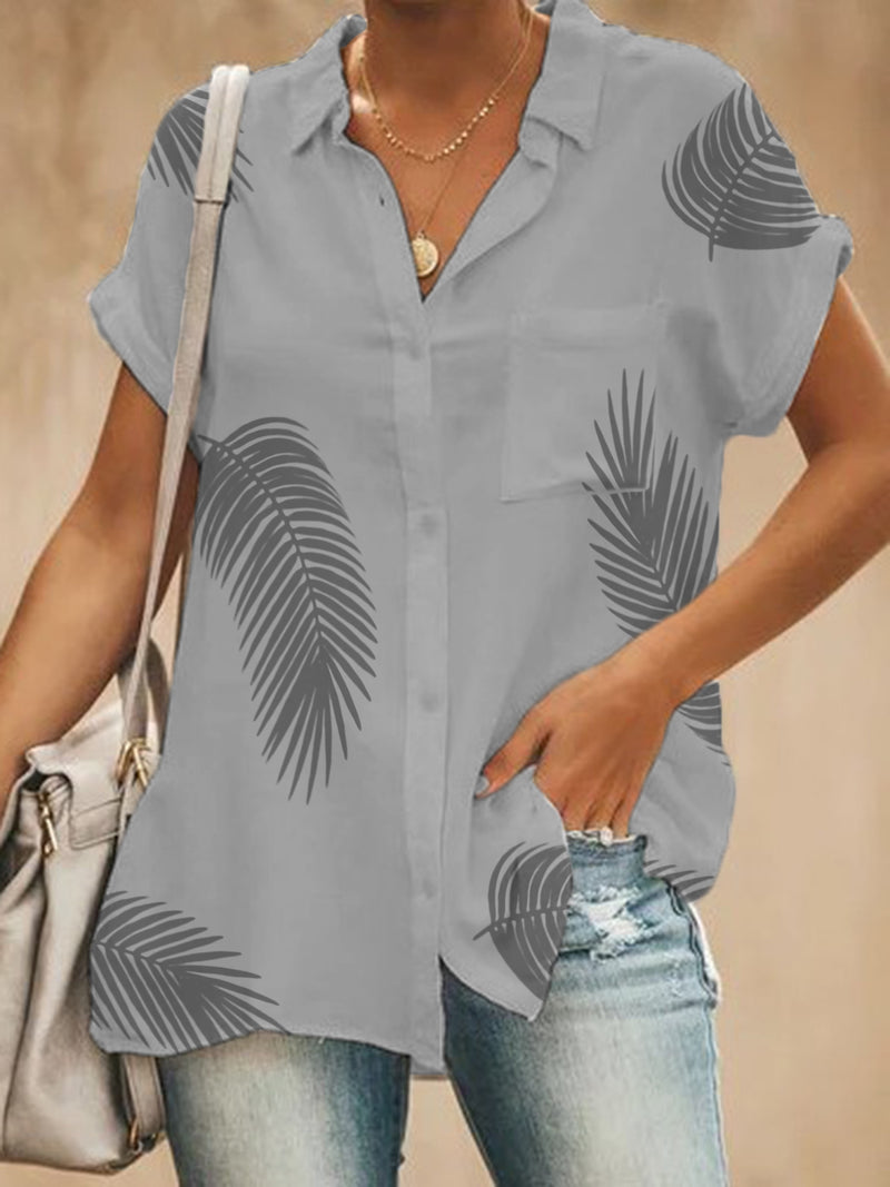 Women Cotton Buttoned V Neck Casual Shirts With Pockets