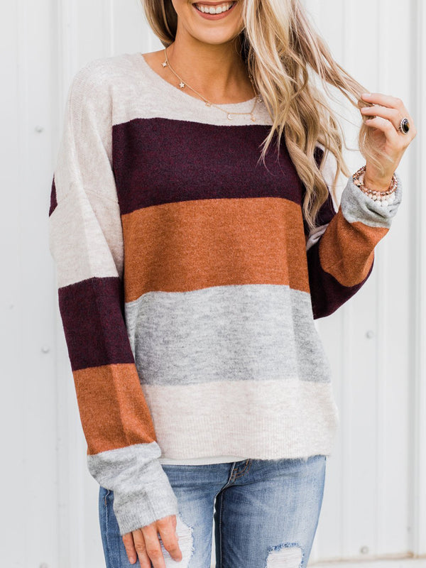 Color-Block Vintage Crew Neck Long Sleeve Sweater
