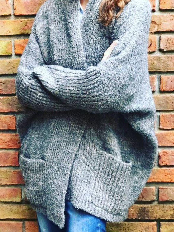 Gray Knitted Sweet Casual Sweater