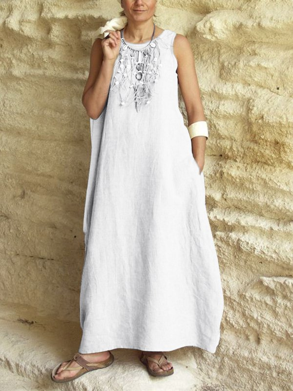 Summer Casual Sleeveless Linen Pockets Round Neck Solid Maxi Dresses