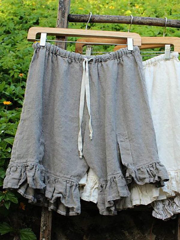 Women Lace Up Elastic Waistband Shorts Linen Bloomers