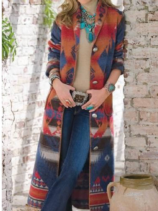 Blue Casual Printed Lapel Outerwear