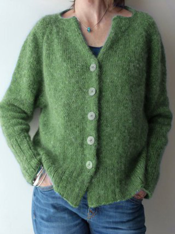 Green Buttoned Knitted Solid Casual plus size Outerwear