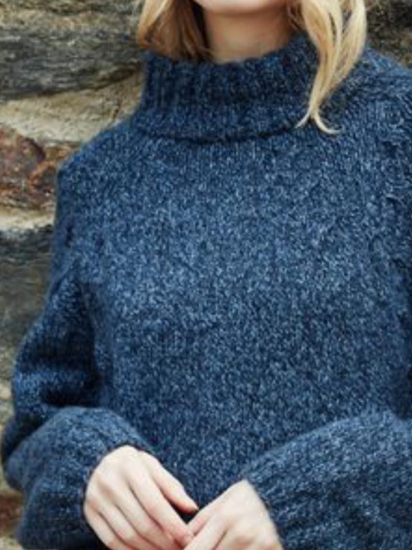 Casual Turtleneck Long Sleeve Solid Sweater