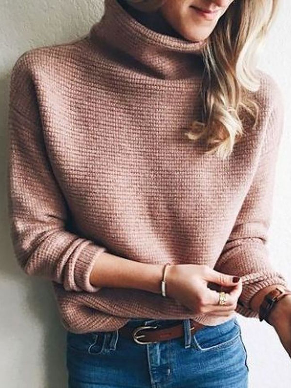 Turtleneck Knitted Sweater Plus Size Solid Pullover