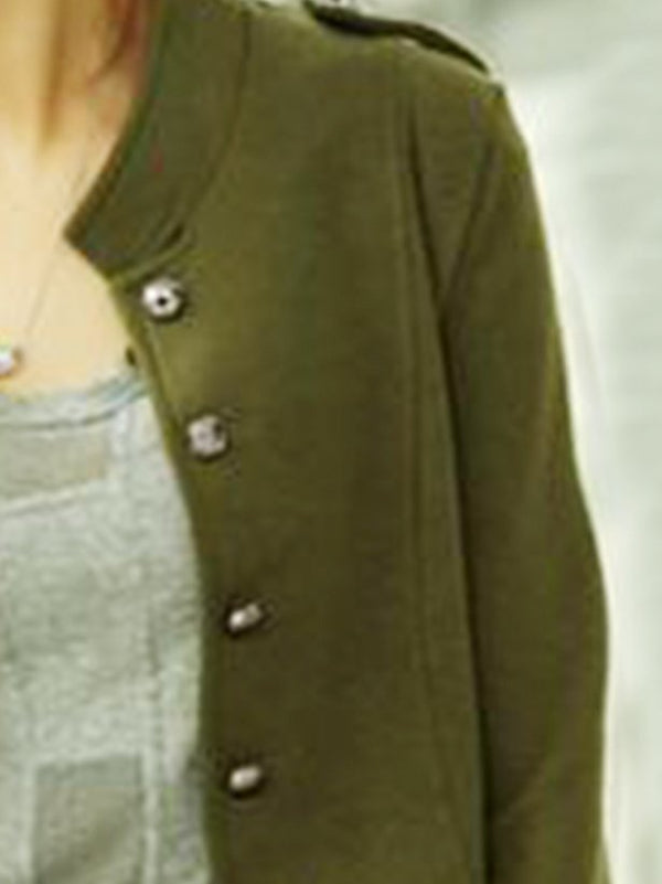Army Green Plain Buttoned Long Sleeve Cotton Outerwear