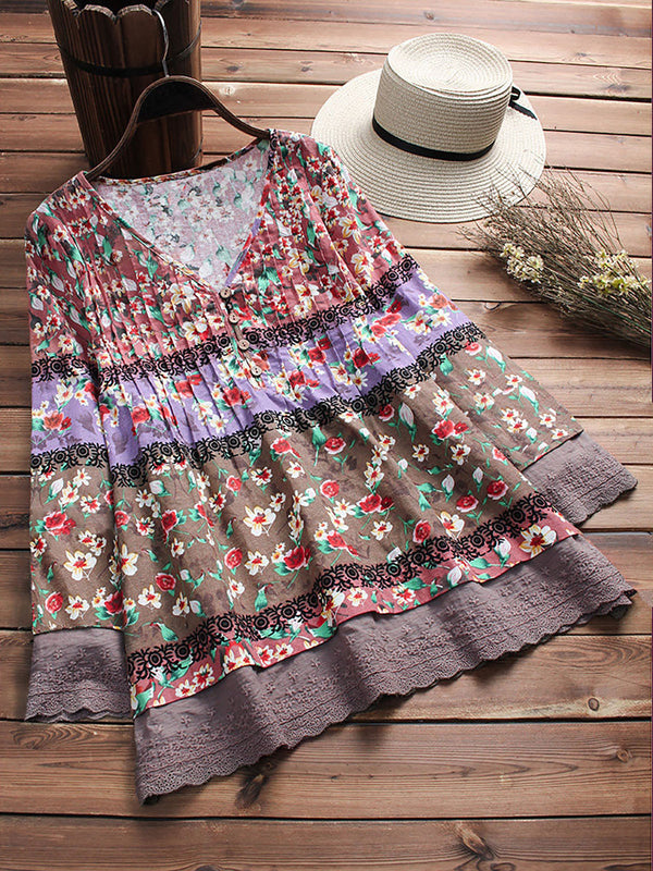 Women Floral Blouse Pullover Patchwork Baggy Oversize V Neck Tops Tee