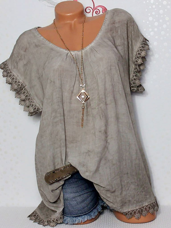 Causal Short Sleeve Solid Color Blouses Cutout Tops