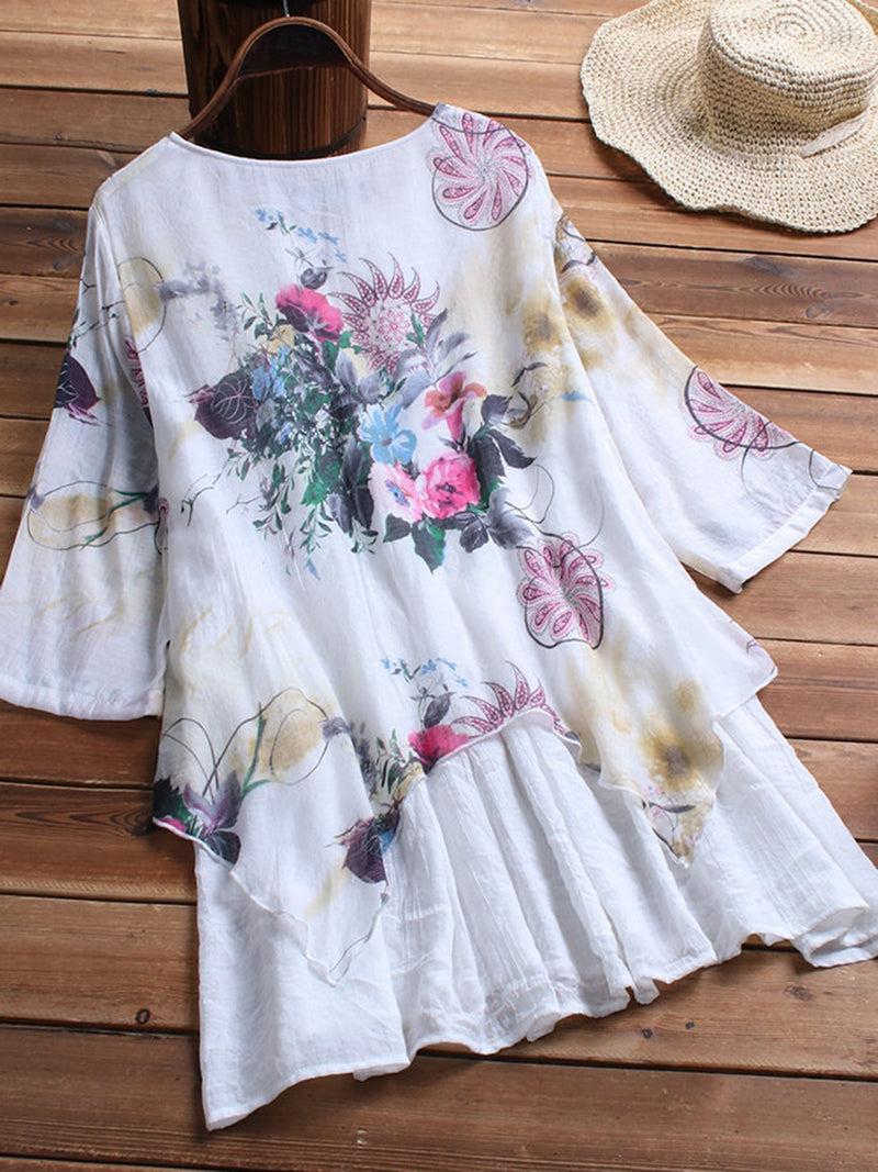 Women Half Sleeve Crew Neck Floral-Print Dresses