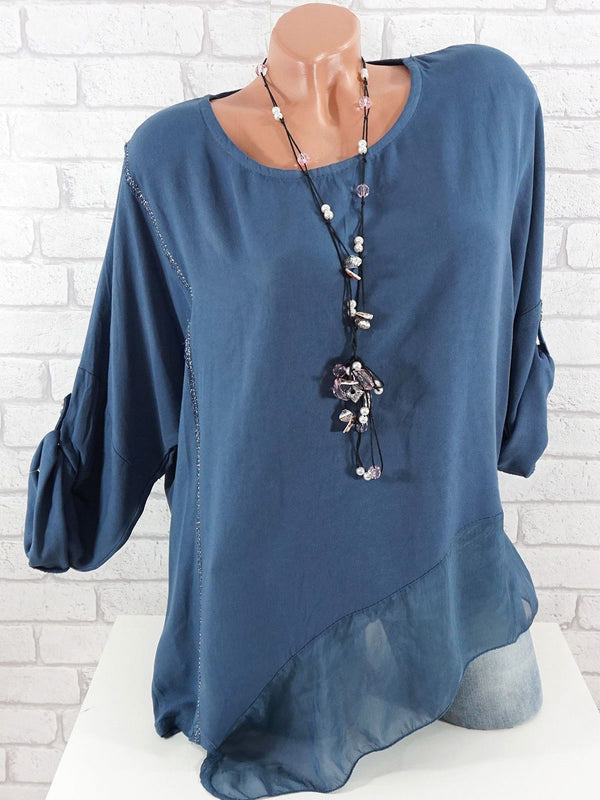 Women Casual Solid Chiffon Long Sleeve Blouses