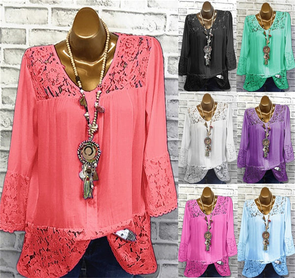 Women Fashion Lace 3/4 Sleeve Casual Crew Neck Blouses