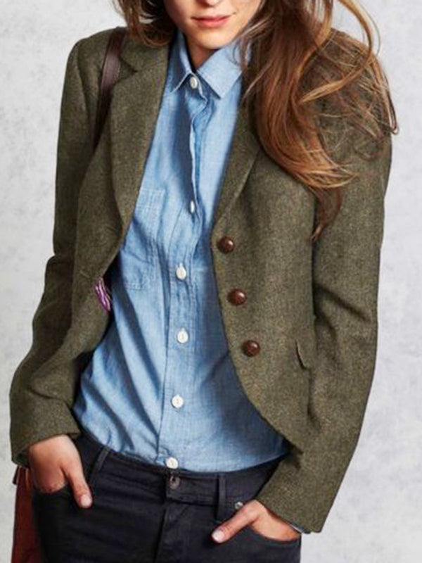 Dark Green Wool Blend Buttoned Solid Elegant Outerwear