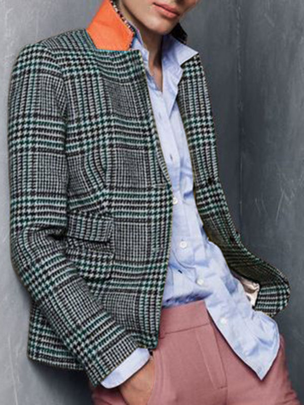 Long Sleeve Pockets Checkered/plaid Outerwear