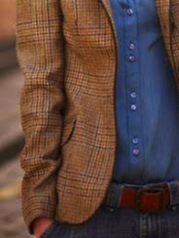Brown Lapel Long Sleeve Checkered/plaid Outerwear
