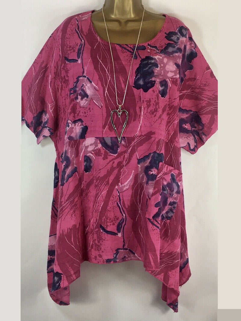 Casual Floral Crew Neck Blouse