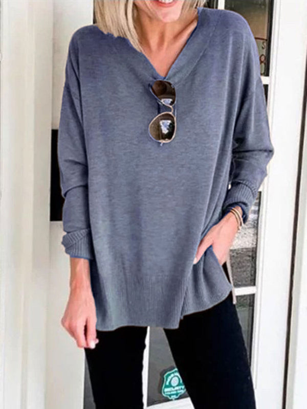 Brown Long Sleeve Plain Cotton-Blend Shirts & Tops